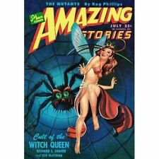 Vintage Sci Fi Poster Amazing Stories Giant Spider Fairy Cover Art