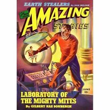 Vintage-Style Sci Fi Poster Amazing Stories Earth Stealers Cover Art