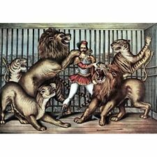 Lion Tamer Trainer In Cage With Lions & Tigers Vintage-Style Circus Poster