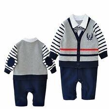 Baby Boy Wedding Birthday Party Formal Striped Jacket Suit Romper Outfit 3-24M