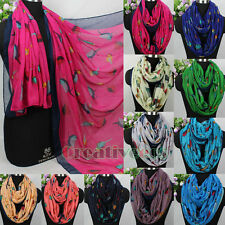 Women's Fashion Scarves Various Cute Birds Print Ladies Long/Infinity Scarf New