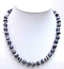 "Charming Black 6mm Round zebra stripe high quality agate 17"" Necklace-n5611"