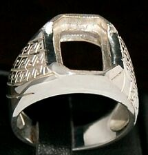 Mens silver ring semi mount setting octagon 13 x 10 mm