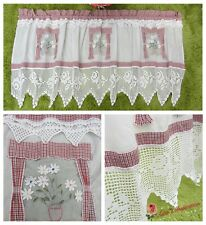 Lovely~Hand Crochet Lace Door Window Valance Cafe Curtain~Red&White~Daisy&Rose~