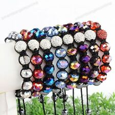 1x Crystal Glass Disco Ball Bead Macrame Braided Woven Women Bracelet Adjustable