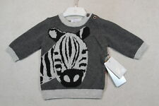 Baby Boy Size 000,00,0 Precious Plum Grey Knitted Jumper With Graphics NWT