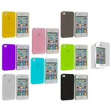 0.3mm Super Ultra Thin Hard Frost Cover Case+3X LCD Protector for iPhone 4 4G 4S