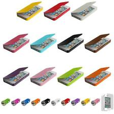For iPhone 4 4S Wallet Hard Case Pouch Front Leather Cover+Car Charger+LCD