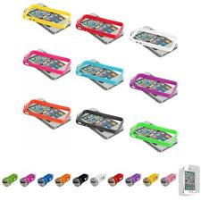 For iPhone 4 4S TPU Frame Bumper Case Cover Metal Buttons+Car Charger+LCD