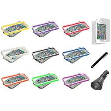 TPU Bumper Jelly Cover Case Metal Buttons+LCD+Charger+Pen for iPhone 4 4G 4S