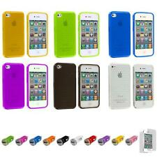 For iPhone 4S 4 TPU Diamond Pattern Color Skin Case Cover+Car Charger+LCD