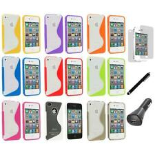 TPU Clear S-Shape S-Line Rubber Case+LCD+Charger+Pen for iPhone 4S 4G 4