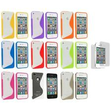TPU Clear S-Shape S-Line Rubber Case+3X LCD Protector for iPhone 4S 4G 4