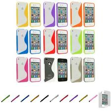For iPhone 4S 4 TPU Color Clear S-Line Rubber Case Cover+Screen Protector