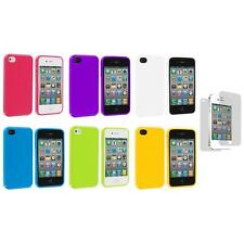 TPU Jelly Gloss Solid Cover Case Accessory+Screen Protector for iPhone 4 4G 4S
