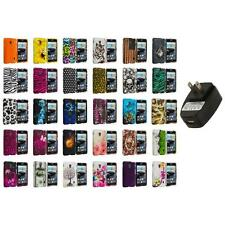 For LG Optimus F6 Hard Design Snap-On Rubberized Skin Case Cover Wall Charger