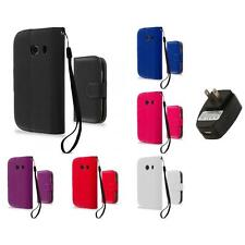 For Samsung Galaxy Ace Style Wallet Flip Pouch Case Cover Wall Charger