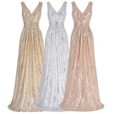 SEQUINS V Neck Long Evening Formal Party Dress Wedding Bridesmaid Ball Prom Gown