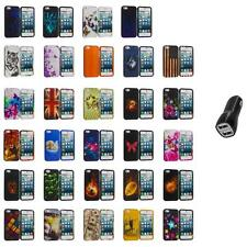 For iPhone 5S 5 5G Hard Snap-On Design Rubberized Case Cover Skin+2.1A Charger