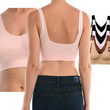 Women Solid Seamless One Size Banded Padded Sports Bra Running Gym Yoga Fitness