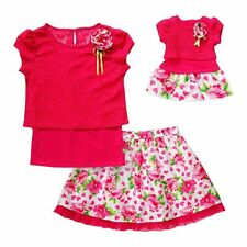 """Dollie Me Girl 4-14 and 18"""" Doll Matching Crochet Top Skirt Outfit American Girl"""