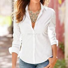 Chic Womens Candy Color Long Sleeve Lapel Shirt OL Button Down Slim Fit Blouse