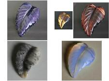 Hand carved blue goldstone red tiger eye opalite agate leaf  pendant bead
