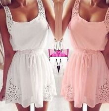 Summer White And Pink Women Casual Dresses Sleeveless Cocktail Short Mini Dress