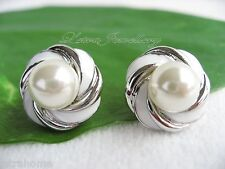 White Round Shell Pearl Platinum Polished Plated Round Button Stud Earrings