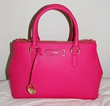 NWT DKNY DOUBLE ZIP SATCHEL FUSCHIA SAFFIANO LEATHER MSRP $300