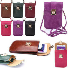 New Leather Handbags Universal Cell Phone Pocket Purse Shoulder Bag Pouch Case