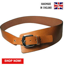 Ladies Full Grain Tan Hide 100% Real Leather Hipster Belt Made In England