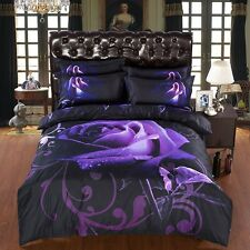 Double King Size Floral  Purple  Rose 3D duvet bedding set  LIMITED EDITION  xma