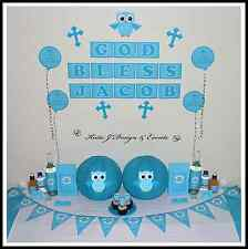 ** BLUE OWL CHRISTENING Baptism Party Decorations Scene Setter Boy CRUCIFIX **