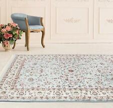 Stunning Silk Look Border Design Blue Rug
