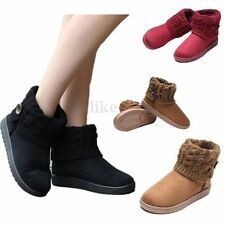 2016 Women's Knit Suede Ankle Snow Boots Wool Thicken Short Warm Booties Shoes