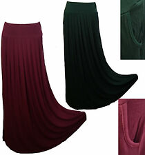 ♡ PLEATED MAXI JERSEY SKIRT ♡SIDE POCKETS FLARED HIGH/LOW WAIST JERSEY HIJAB