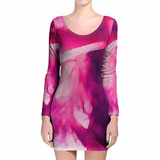Pink Abstract Watercolor Longsleeve Bodycon Dress XS-3XL All-Over-Print