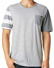 New FOX Racing Men's Grey Striped Savage S/S Crew Knit Pocket Tee Shirt Top $44