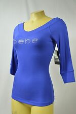 BEBE top logo crystals t shirt ribbed V NECK  blue DZB 159283 S L 3/4 sleeve