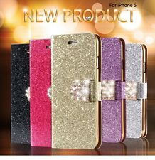 New  Bling Magnetic Glitter Wallet PU Leather Flip Case Cover for Apple iPhone