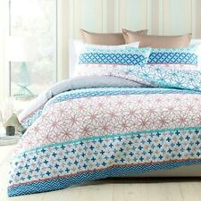 WALLACE White TEAL Grey SEAFOAM Quilted QUEEN*KING Quilt Doona Duvet Cover Set