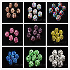 10mm Crystal Rhinestone Pave Clay European Bracelet Round Solid Color Ball Beads