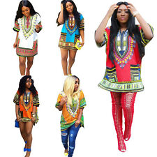 2016 New Women Traditional African Print Dashiki Dress Short Sleeve Party Dress