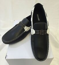 MENS GIOVANNI SHOES Loafer Fashion Italian Casual Slip-On TWO TONE BLACK WHITE