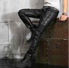 Men's Fashion slim fit motorcycle leather punk rock fold pants trousers Handsome