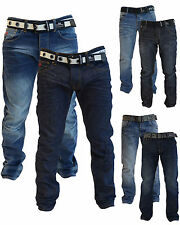 NEW Mens Crosshatch Branded Straight Leg Denim Cotton Jeans All Sizes Free Belt