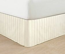 800TC Split Corner Bed Skirt Ivory Striped 100% Egyptian Cotton All Size & Deep*