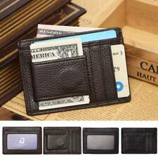Mens Slim Genuine Money Clip Card ID Case Front Pocket Wallet with Magnetic Clip