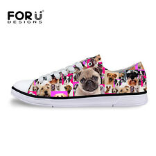 Pug Dog Women's Lady's Low Top Casual Lace up Canvas Flat New Shoes Sneakers